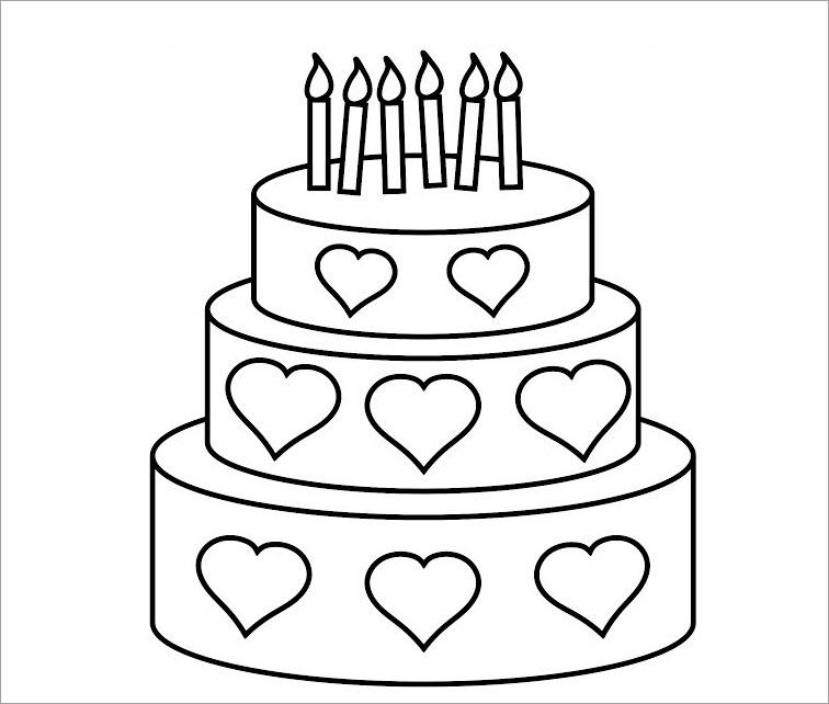 Tranh tô màu bánh sinh nhật 3 tầng trang trí trái tim