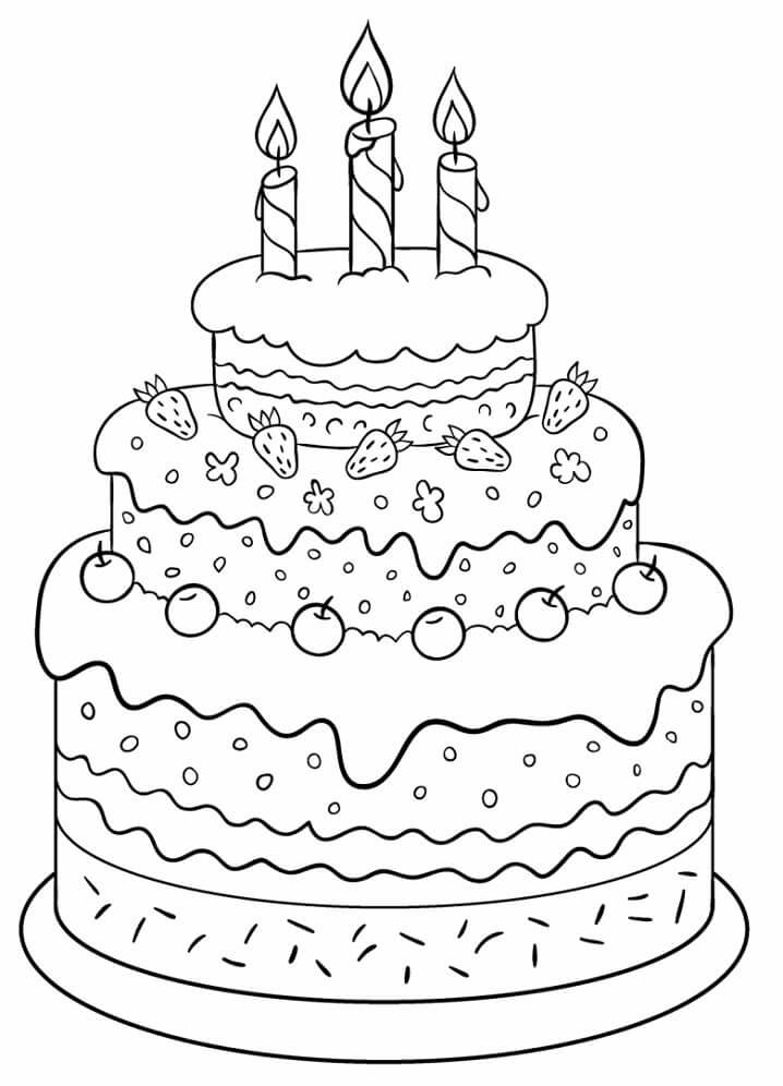 Tranh tô màu bánh sinh nhật 3 tầng