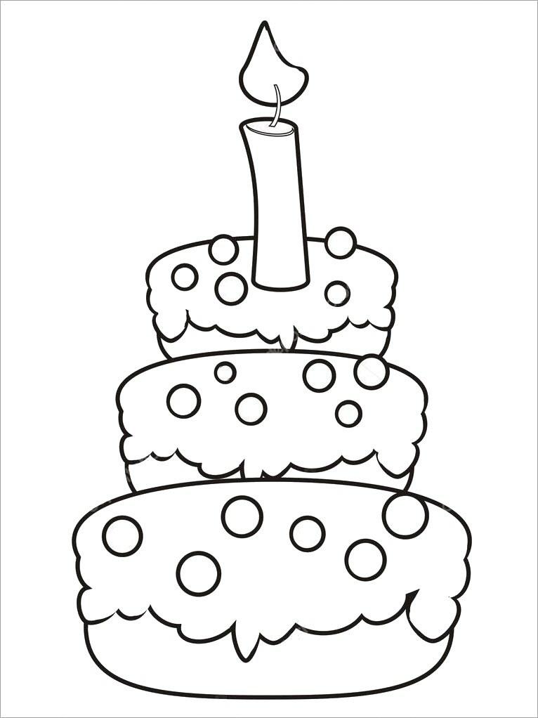 Tranh tô màu bánh sinh nhật cho bé 3 tuổi