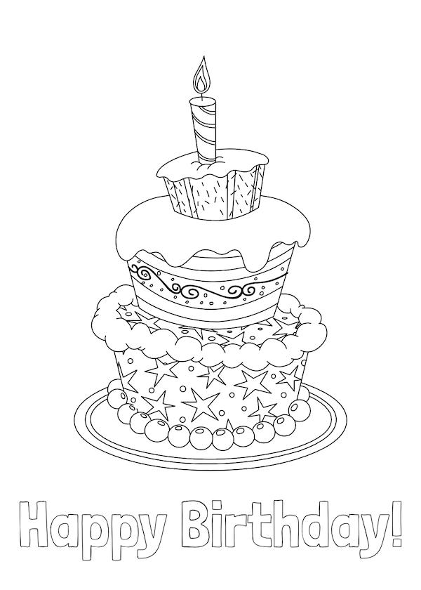 Tranh tô màu bánh sinh nhật dễ thương, cực đẹp