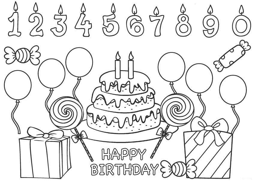 Tranh tô màu bánh sinh nhật dễ thương, đẹp nhất