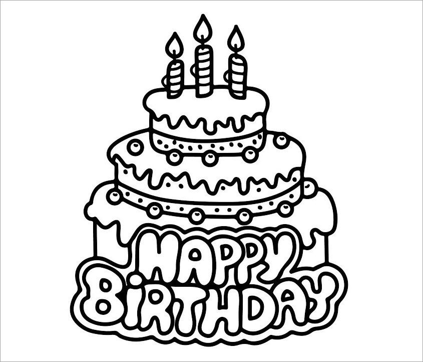 Tranh tô màu bánh sinh nhật đẹp, dễ thương