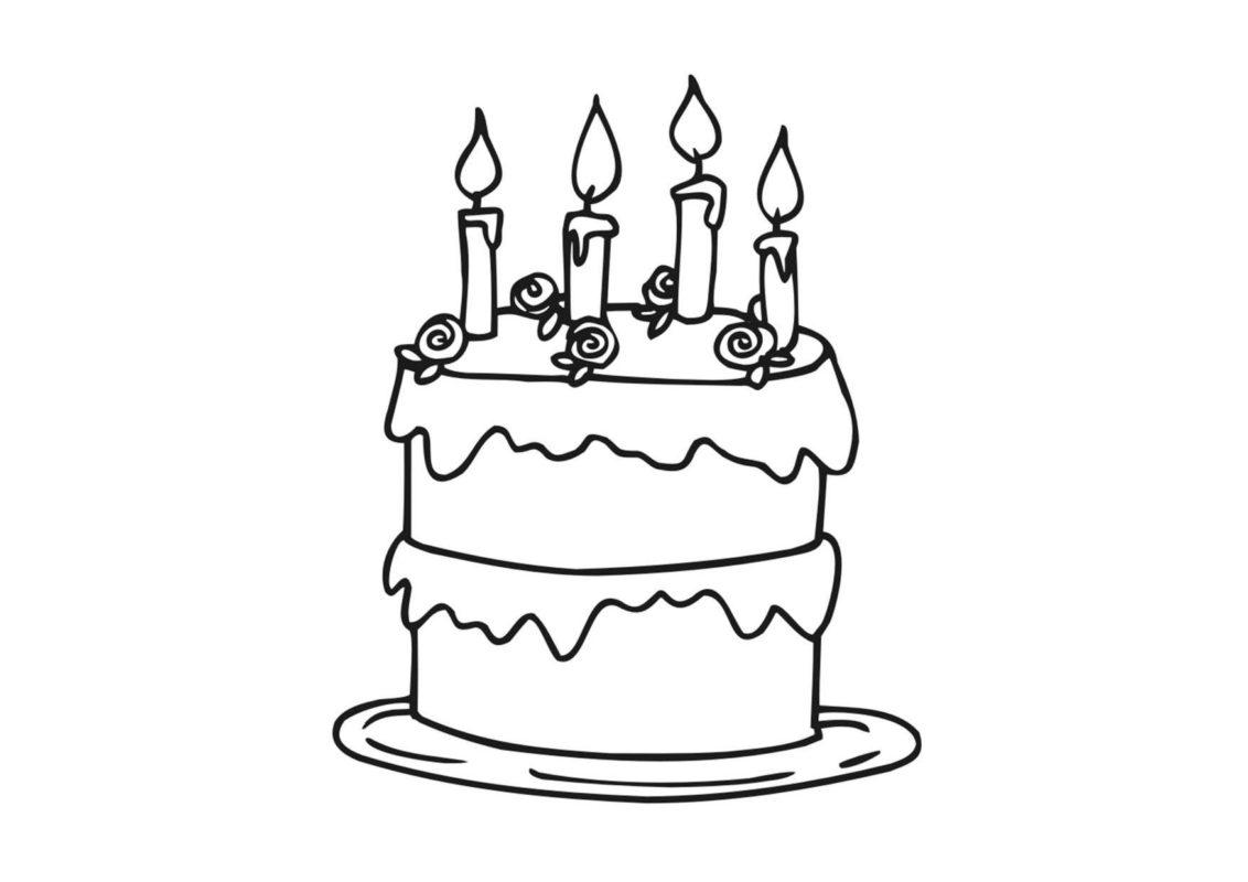 Tranh tô màu bánh sinh nhật đẹp. đơn giản