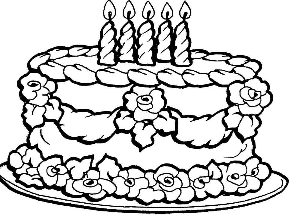 Tranh tô màu bánh sinh nhật đẹp mắt