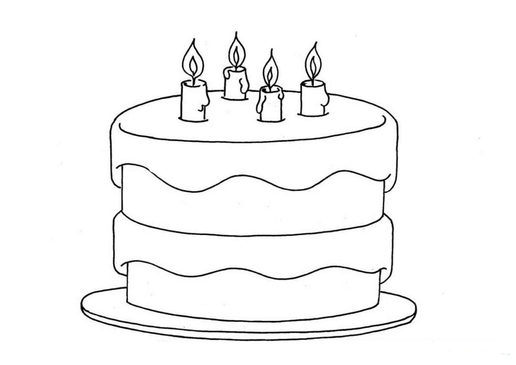 Tranh tô màu bánh sinh nhật đơn giản, dễ tô