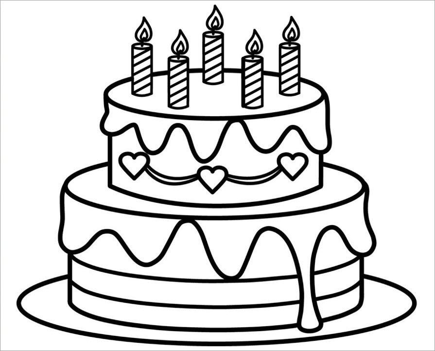 Tranh tô màu bánh sinh nhật đơn giản, sắc nét