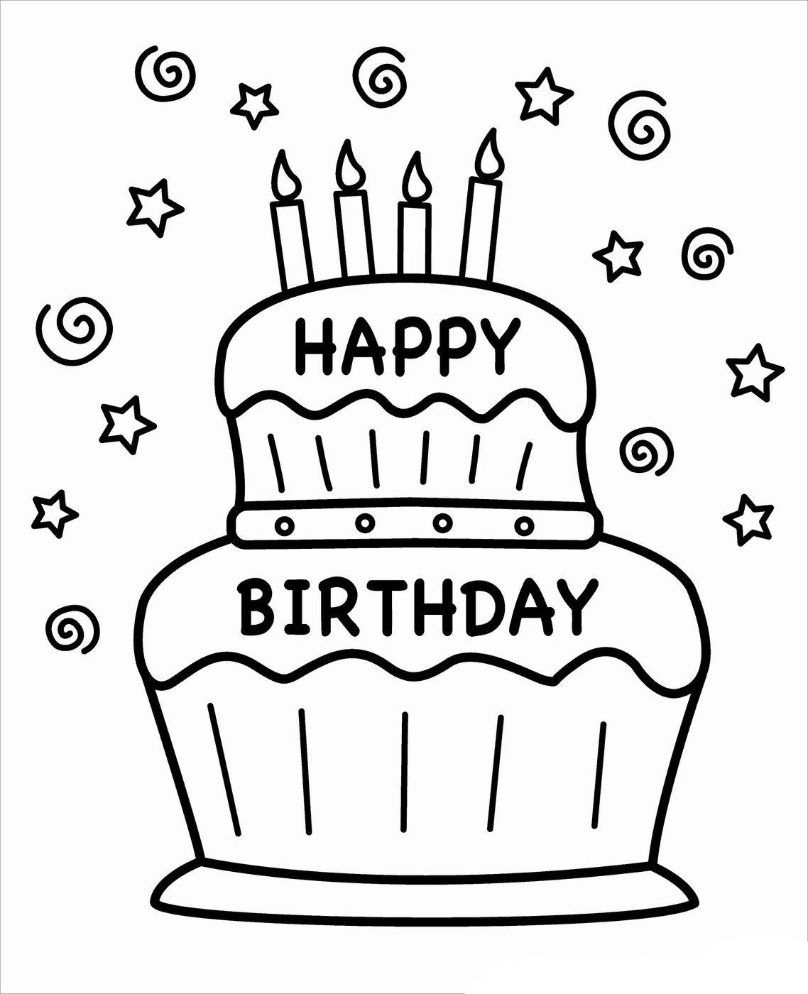 Tranh tô màu bánh sinh nhật đơn giản, ý nghĩa