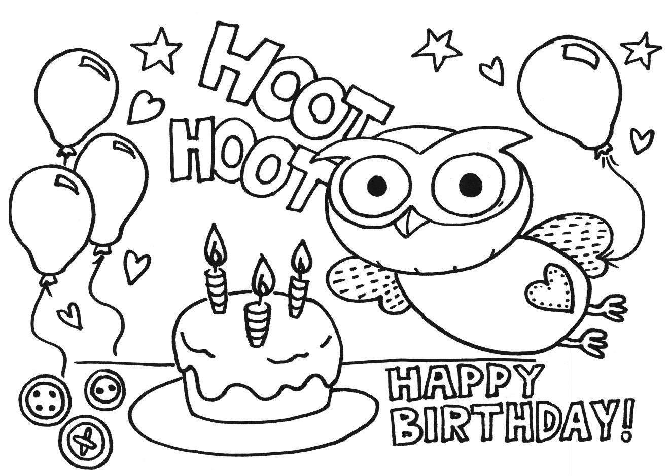 Tranh tô màu bánh sinh nhật ngộ nghĩnh, đáng yêu