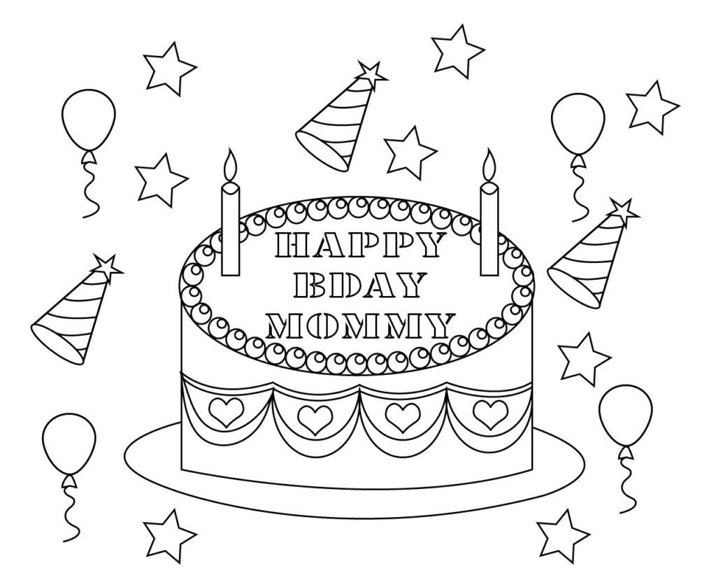 Tranh tô màu bánh sinh nhật tặng mẹ