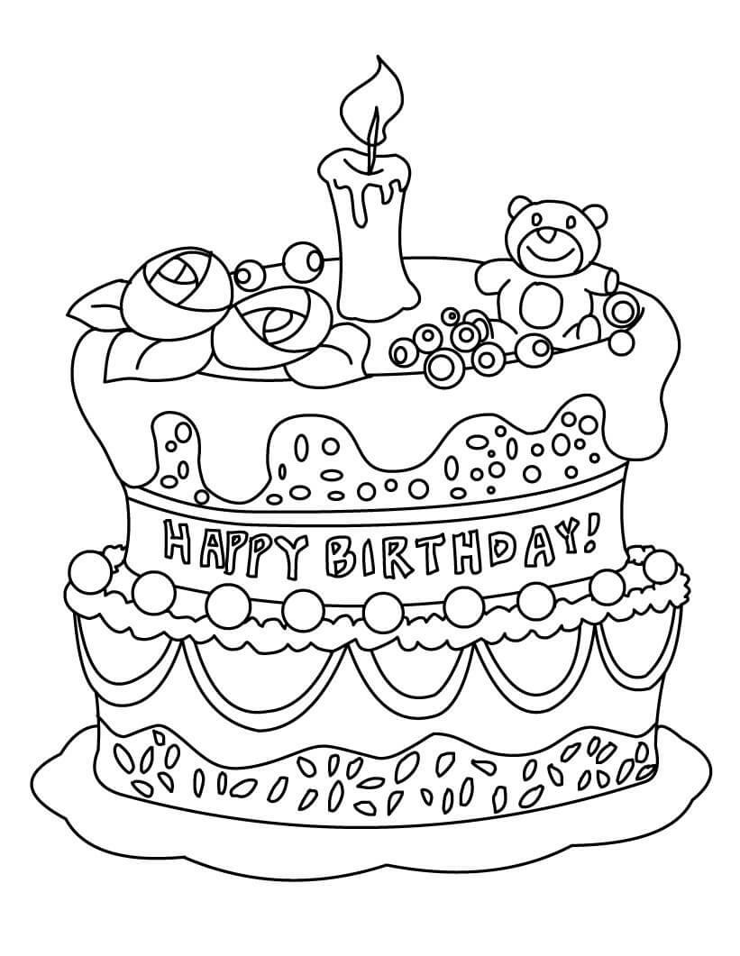 Tranh tô màu bánh sinh nhật trang trí cực đẹp