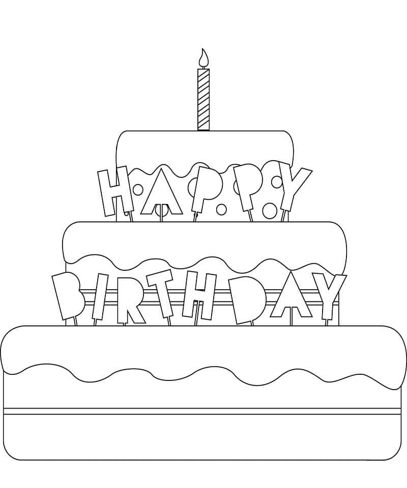 Tranh tô màu bánh sinh nhật và 1 cây nến