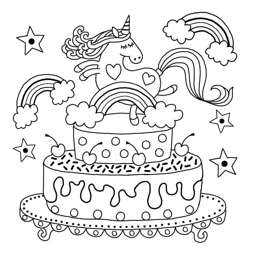 Tranh tô màu bánh sinh nhật và kì lân