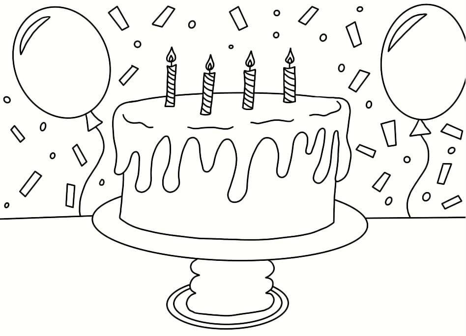 Tranh tô màu bóng bay và bánh sinh nhật