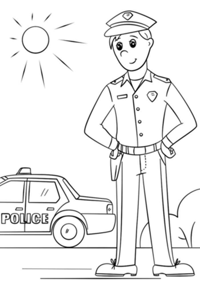 Tranh tô màu cảnh sát và xe ô tô