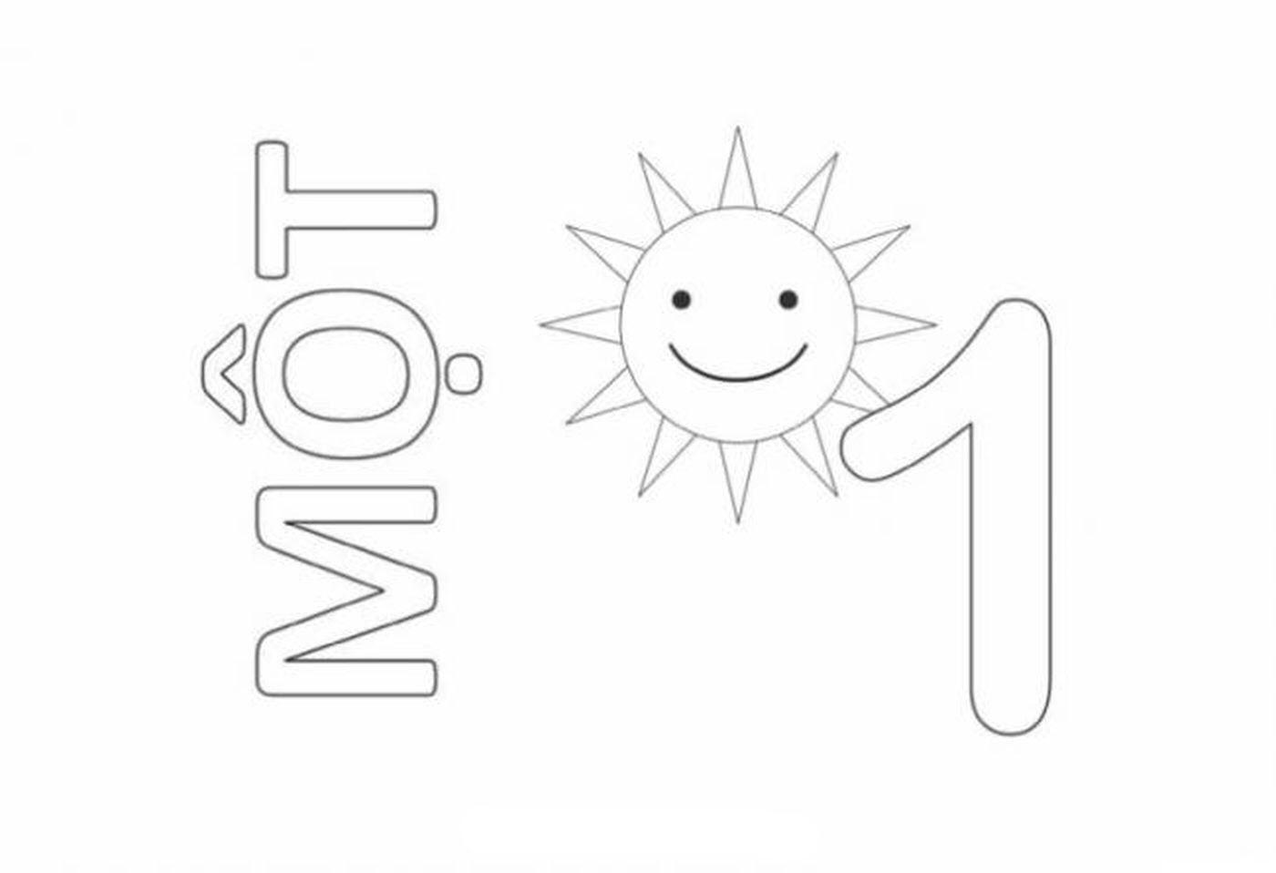 Tranh tô màu chữ số 1 - Một mặt trời