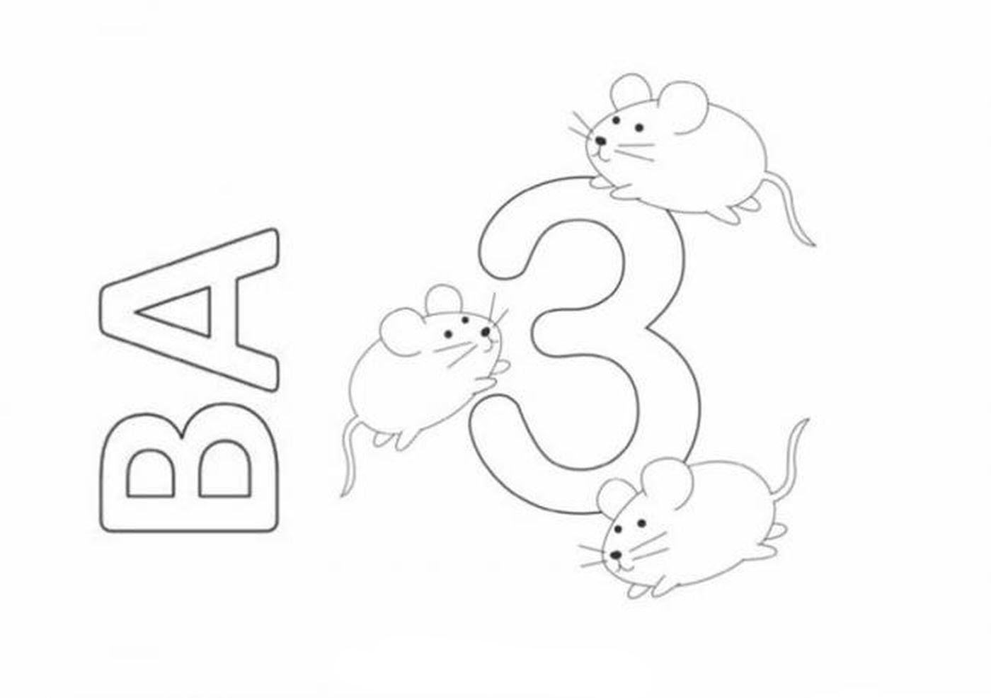 Tranh tô màu chữ số 3 - Ba chú chuột