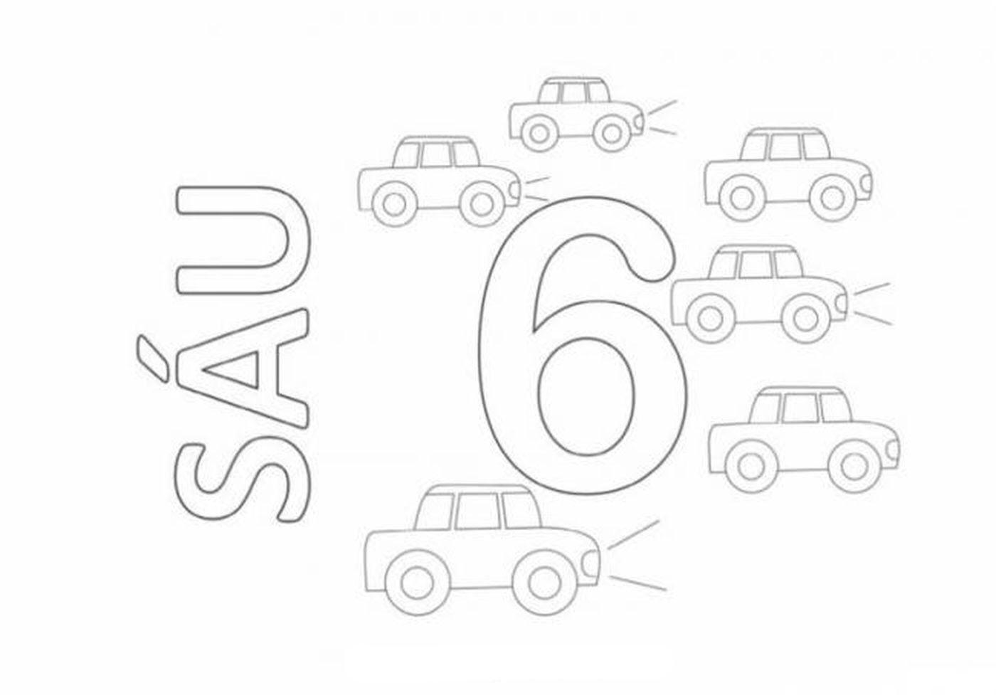 Tranh tô màu chữ số 6 - Sáu ô tô