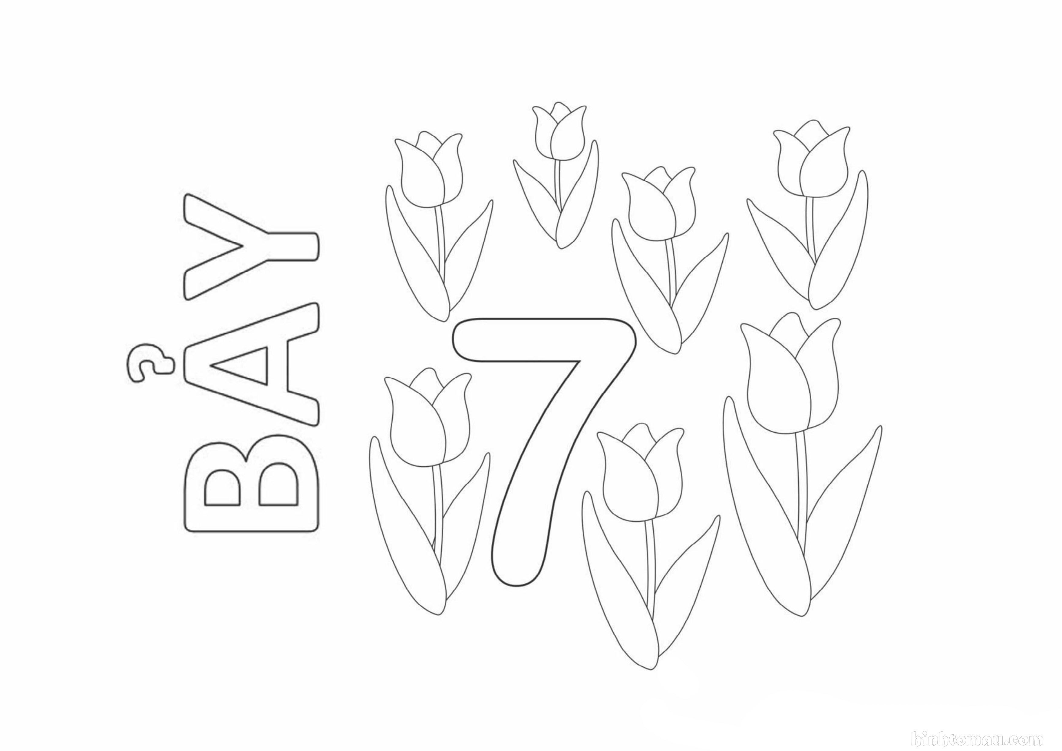 Tranh tô màu chữ số 7 - Bảy bông hoa