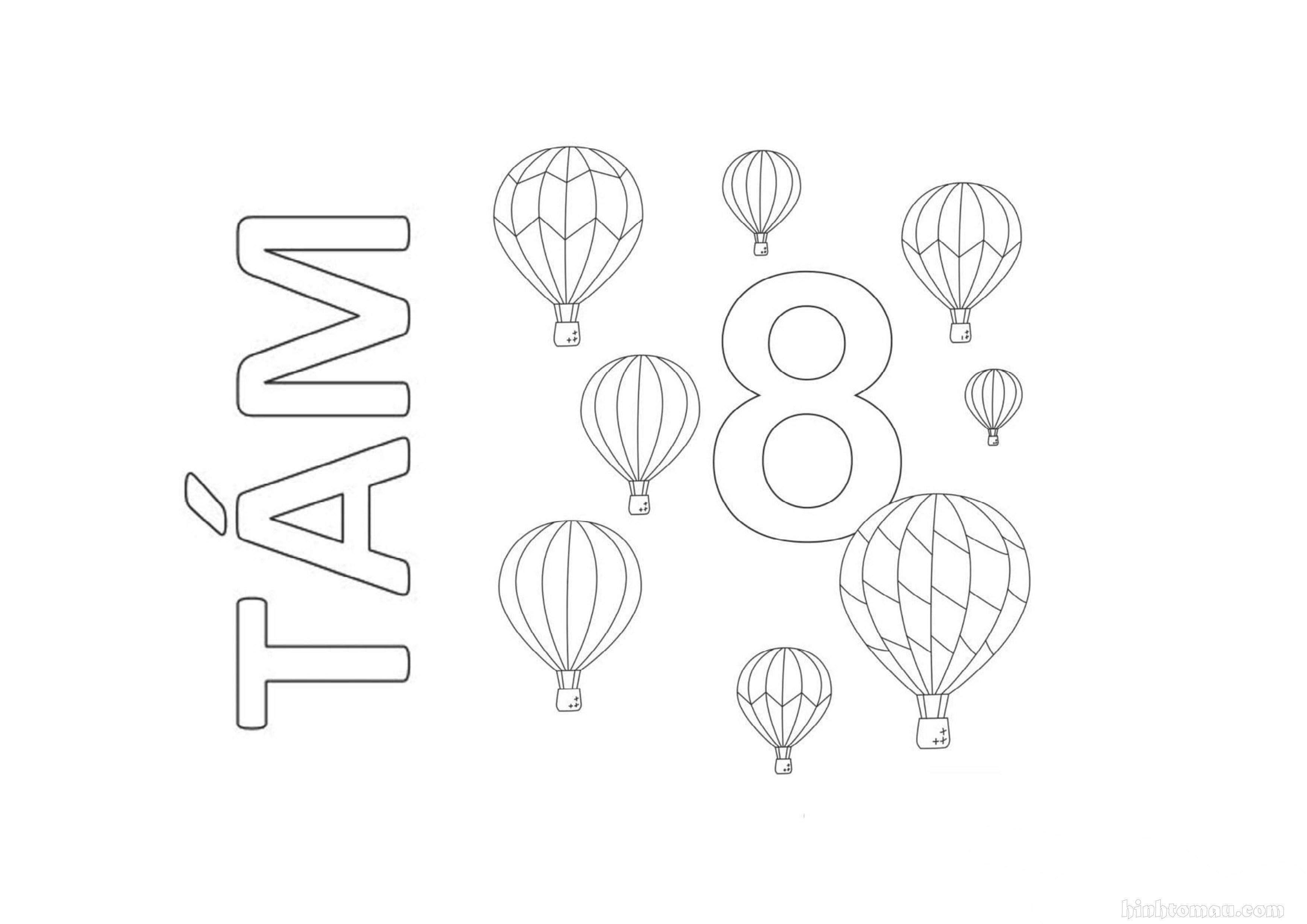 Tranh tô màu chữ số 8 - Tám khinh khí cầu