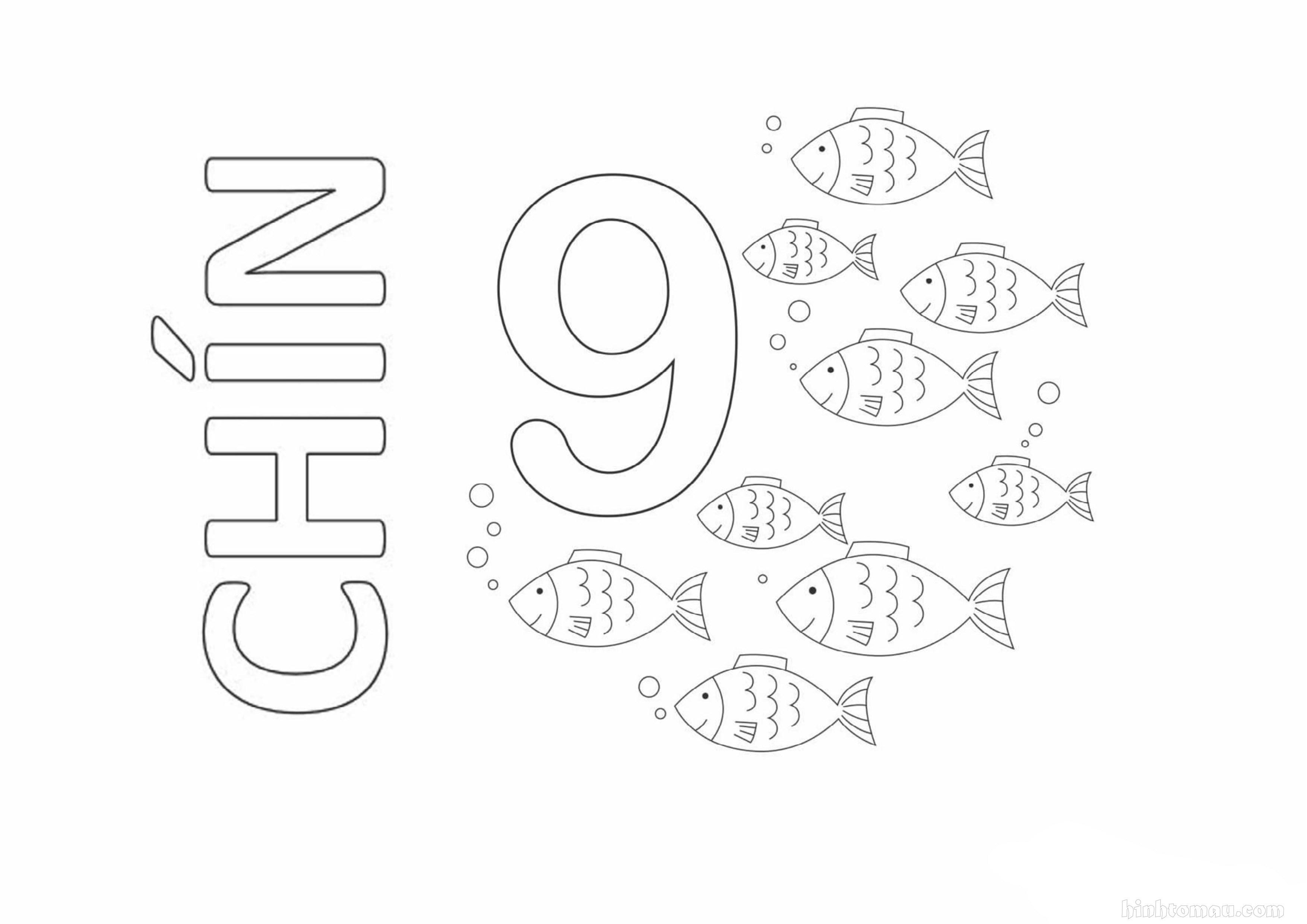 Tranh tô màu chữ số 9 - Chín con cá
