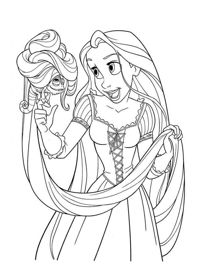 Tranh tô màu công chúa Rapunzel và con tắc kè
