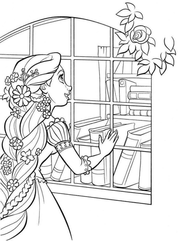 Tranh tô màu công chúa tóc mây bên cửa sổ