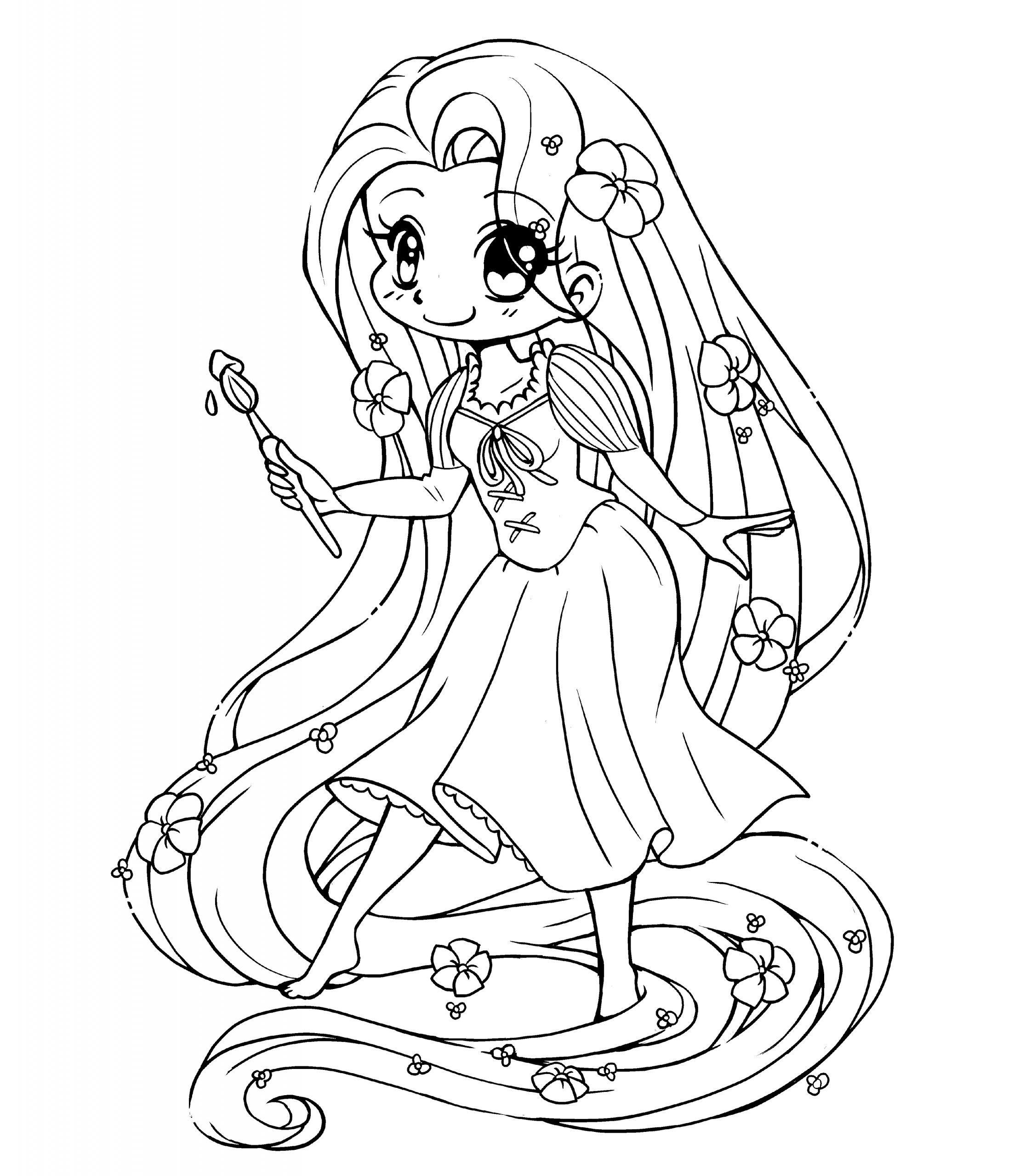 Tranh tô màu công chúa tóc mây chibi