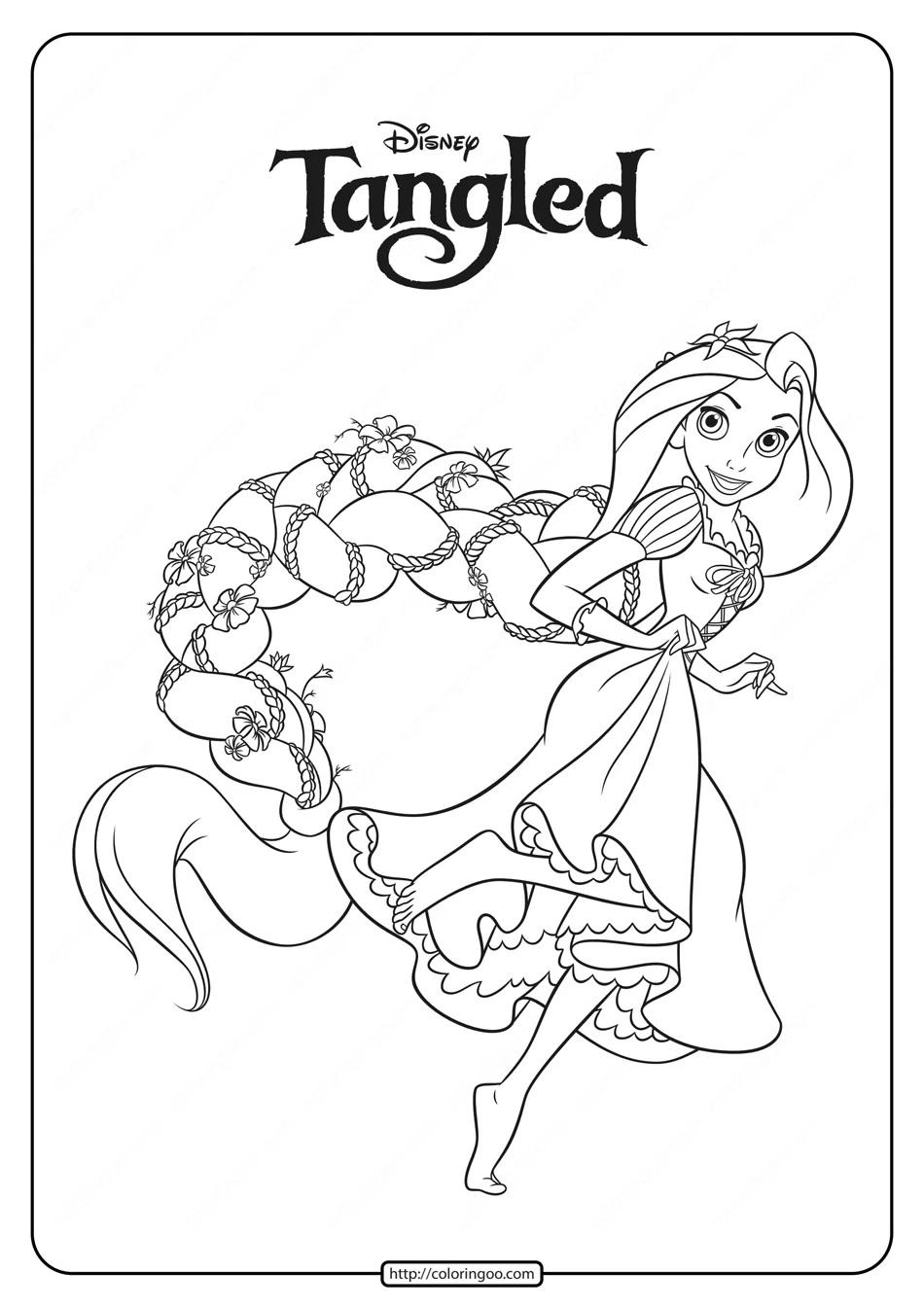 Tranh tô màu công chúa tóc mây đang chạy