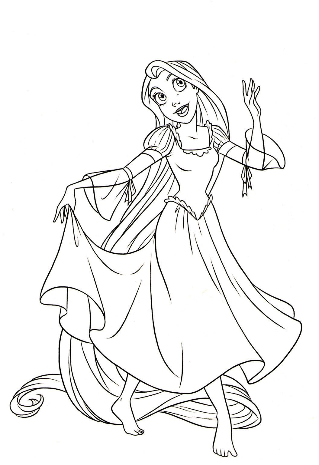 Tranh tô màu công chúa tóc mây đáng yêu