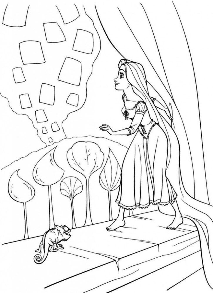 Tranh tô màu công chúa tóc mây dành cho bé gái