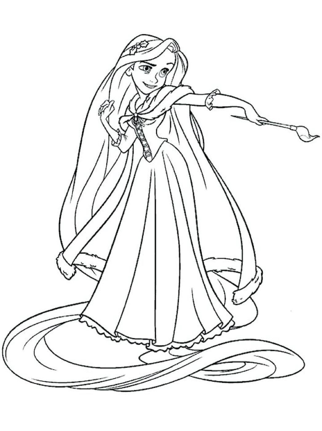 Tranh tô màu công chúa tóc mây dễ thương