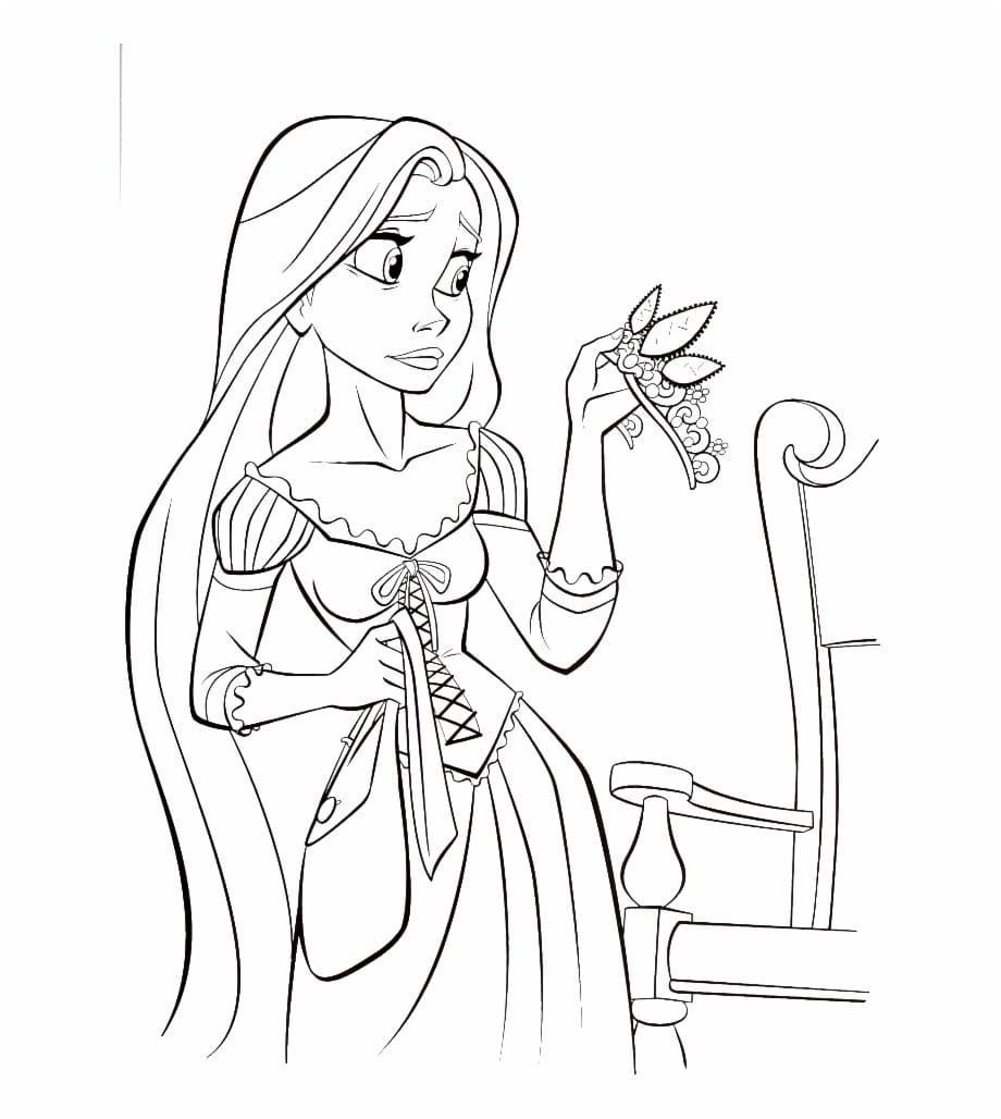 Tranh tô màu công chúa tóc mây đẹp, buồn