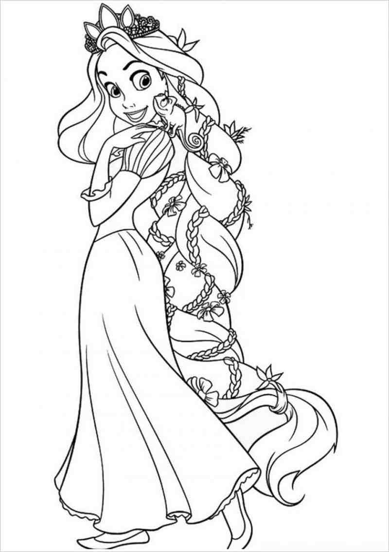 Tranh tô màu công chúa tóc mây đẹp dành cho bé gái
