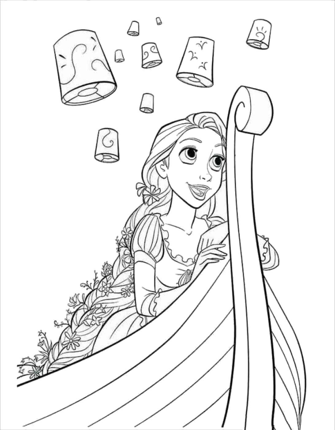 Tranh tô màu công chúa tóc mây đi thuyền