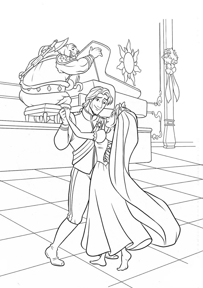 Tranh tô màu công chúa tóc mây khiêu vũ cùng hoàng tử
