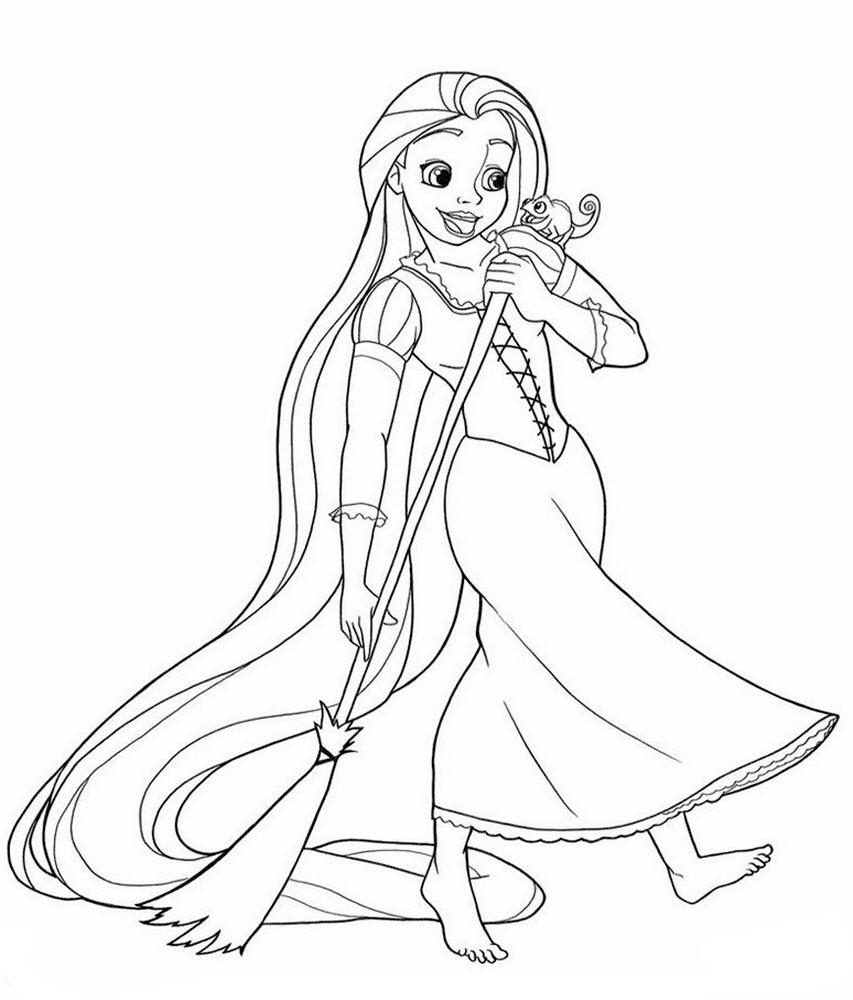 Tranh tô màu công chúa tóc mây lúc nhỏ