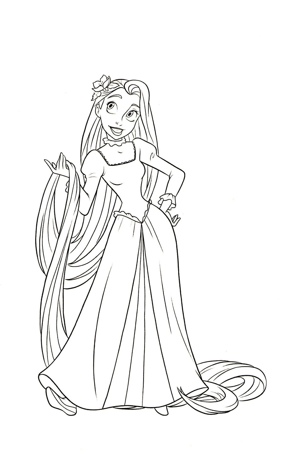 Tranh tô màu công chúa tóc mây mạnh mẽ, cá tính