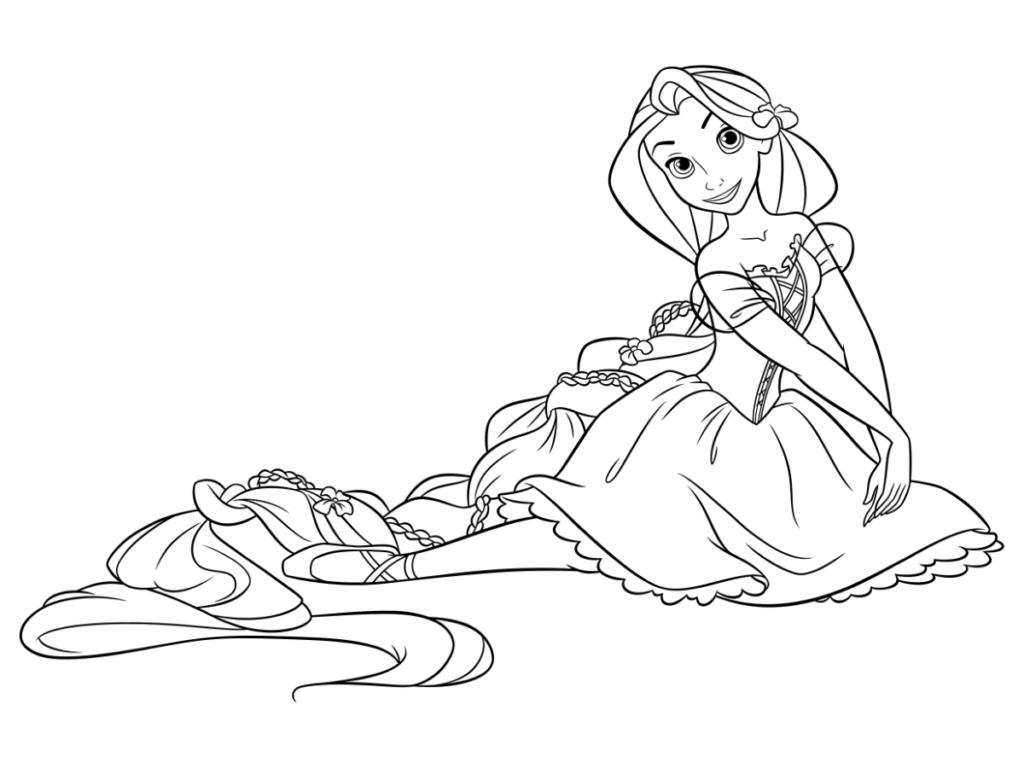 Tranh tô màu công chúa tóc mây ngồi