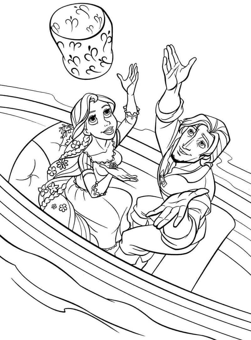 Tranh tô màu công chúa tóc mây trèo thuyền cùng hoàng tử