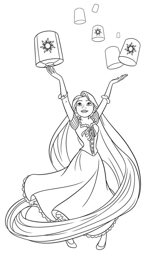 Tranh tô màu công chúa tóc mây và lồng đèn