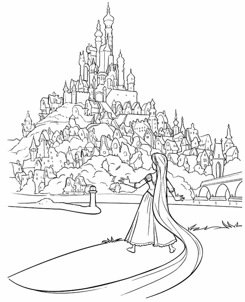Tranh tô màu công chúa tóc mây và toàn bộ vương quốc