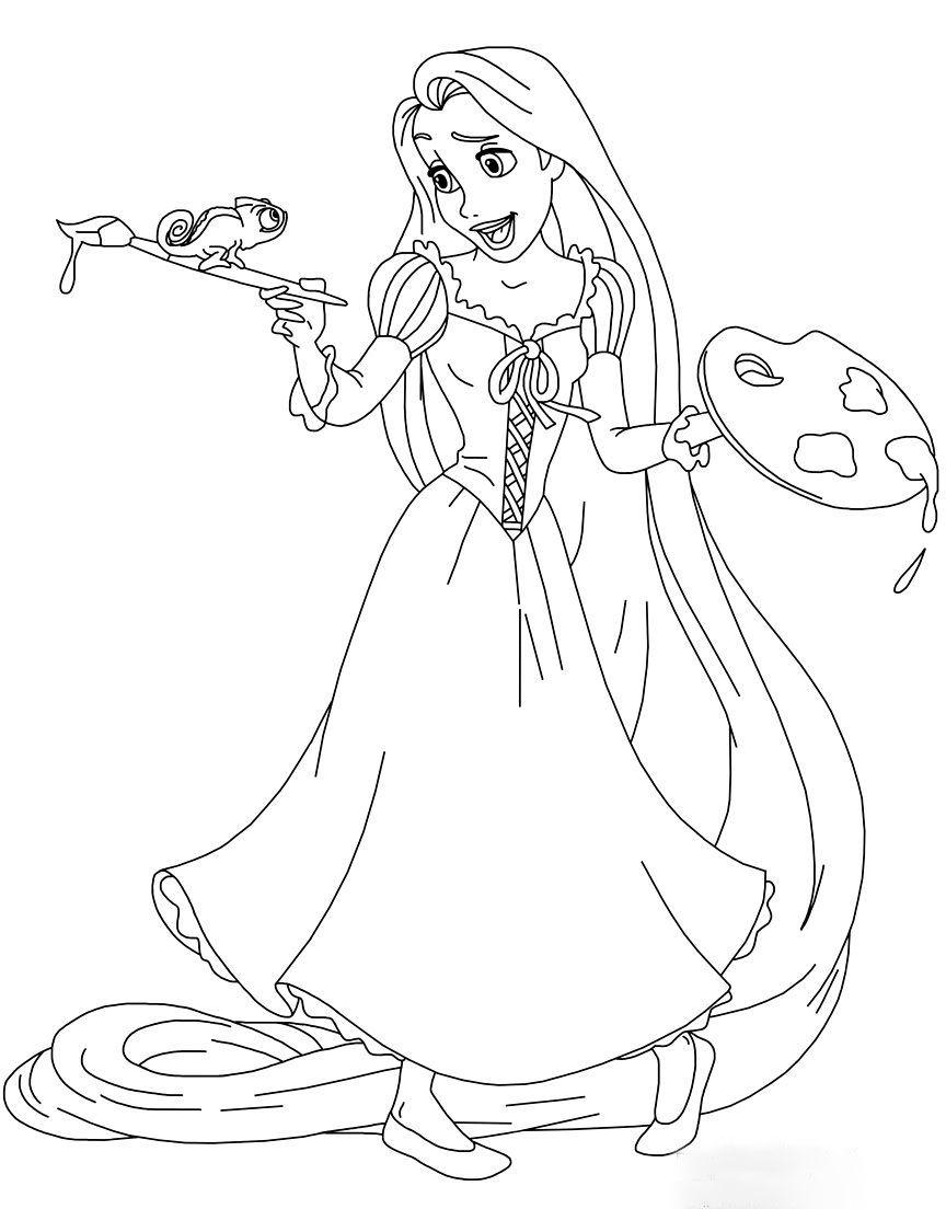 Tranh tô màu công chúa tóc mây vẽ tranh
