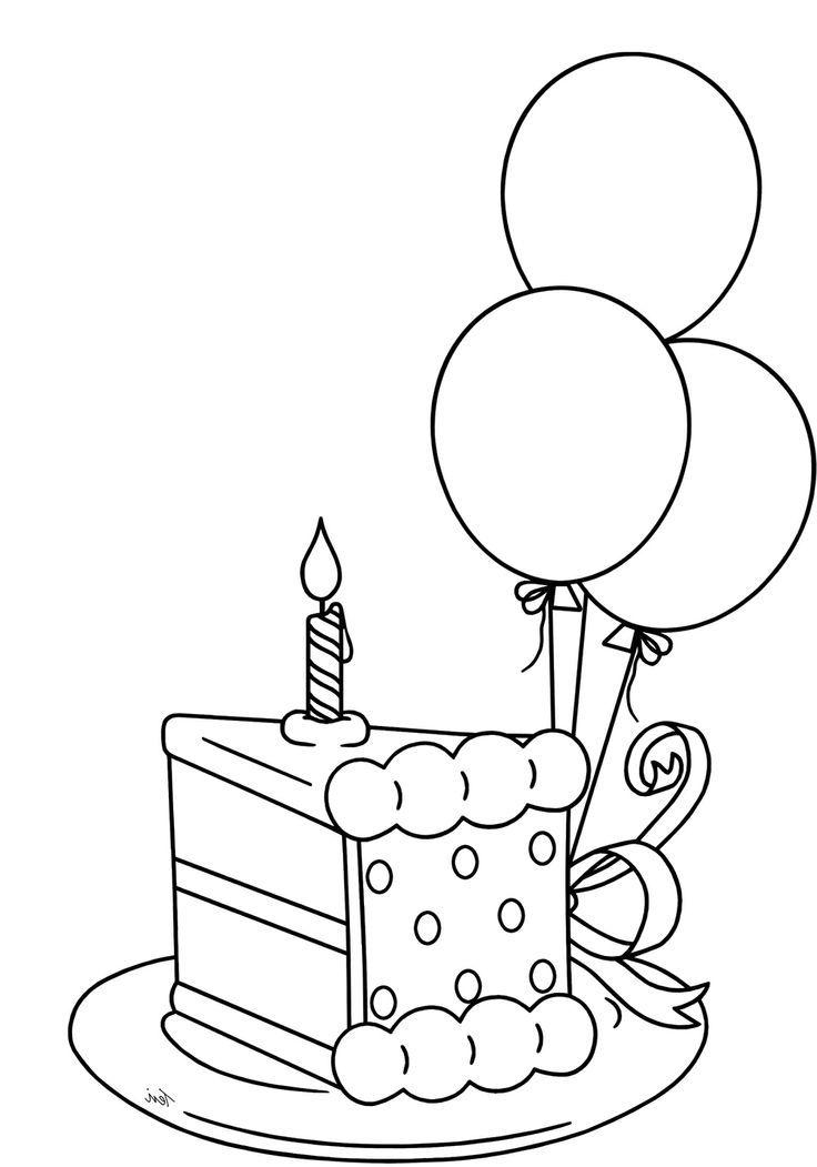 Tranh tô màu đĩa bánh sinh nhật