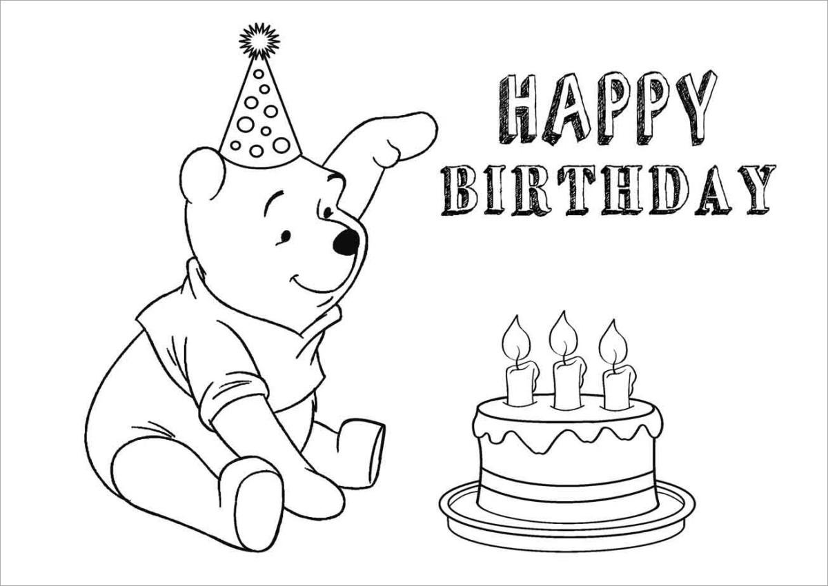 Tranh tô màu gấu Pooh và bánh sinh nhật