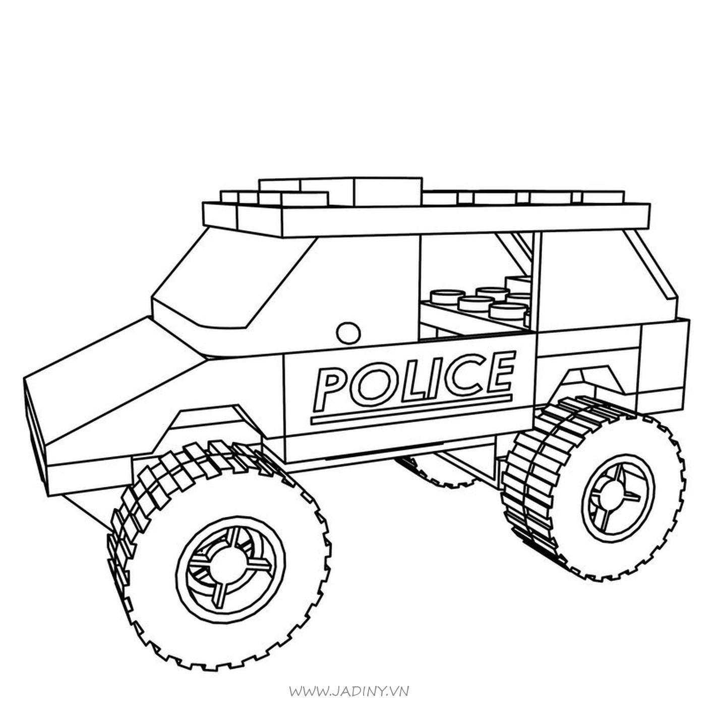 Tranh tô màu Lego xe cảnh sát