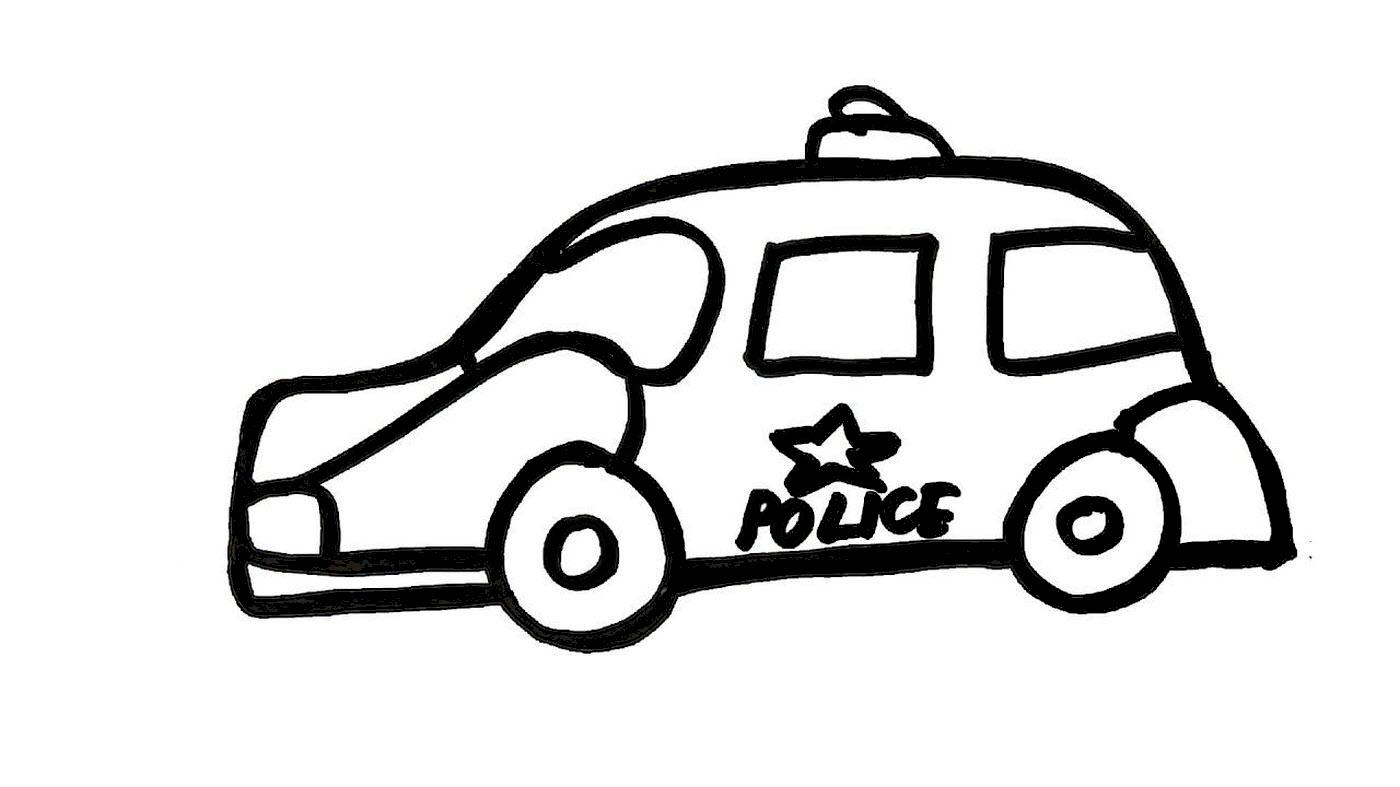 Tranh tô màu ô tô cảnh sát đơn giản