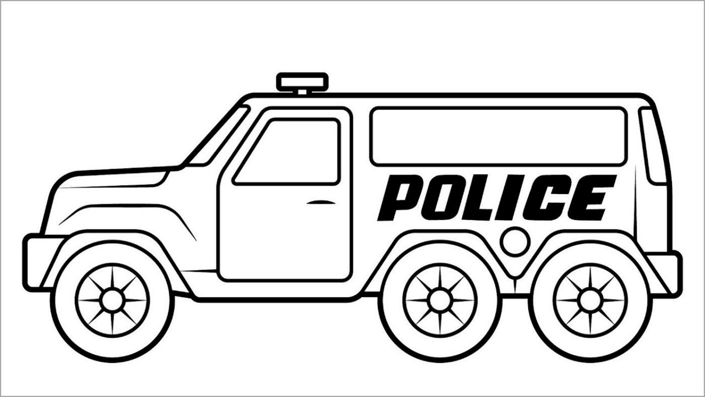 Tranh tô màu ô tô cảnh sát giúp bé tập tô