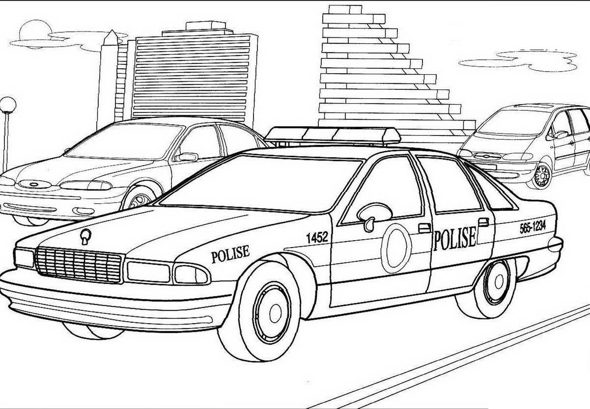 Tranh tô màu ô tô cảnh sát kích thích tư duy, sáng tạo