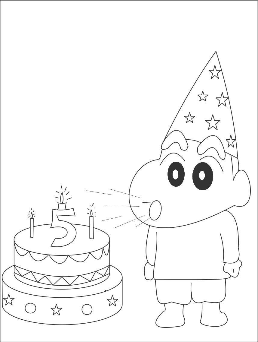 Tranh tô màu Shin và chiếc bánh sinh nhật