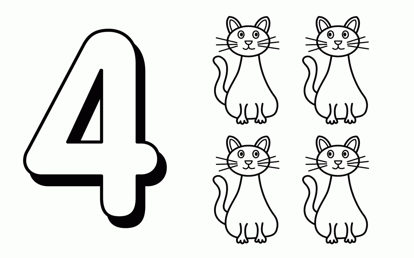 Tranh tô màu số đếm cho bé - Số 4